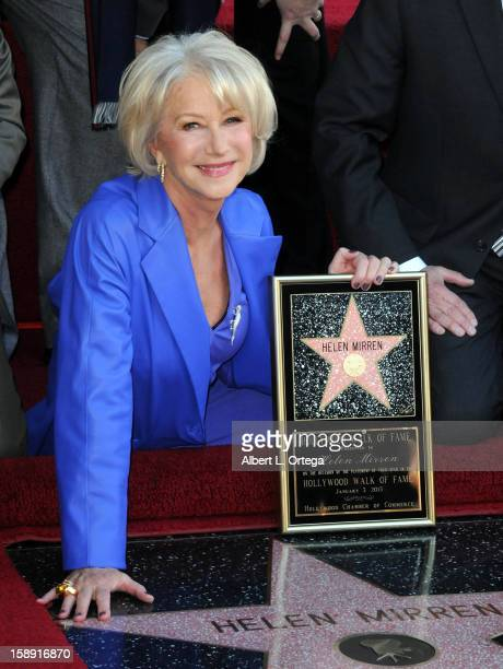 Helen Mirren is honored on the Hollywood Walk of Fame on January 3 2013 in Hollywood California