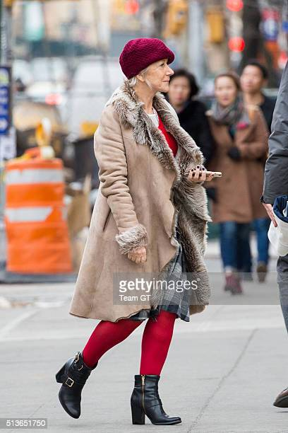Helen Mirren is seen arriving at the film set of 'Collateral Beauty' on March 3 2016 in New York City