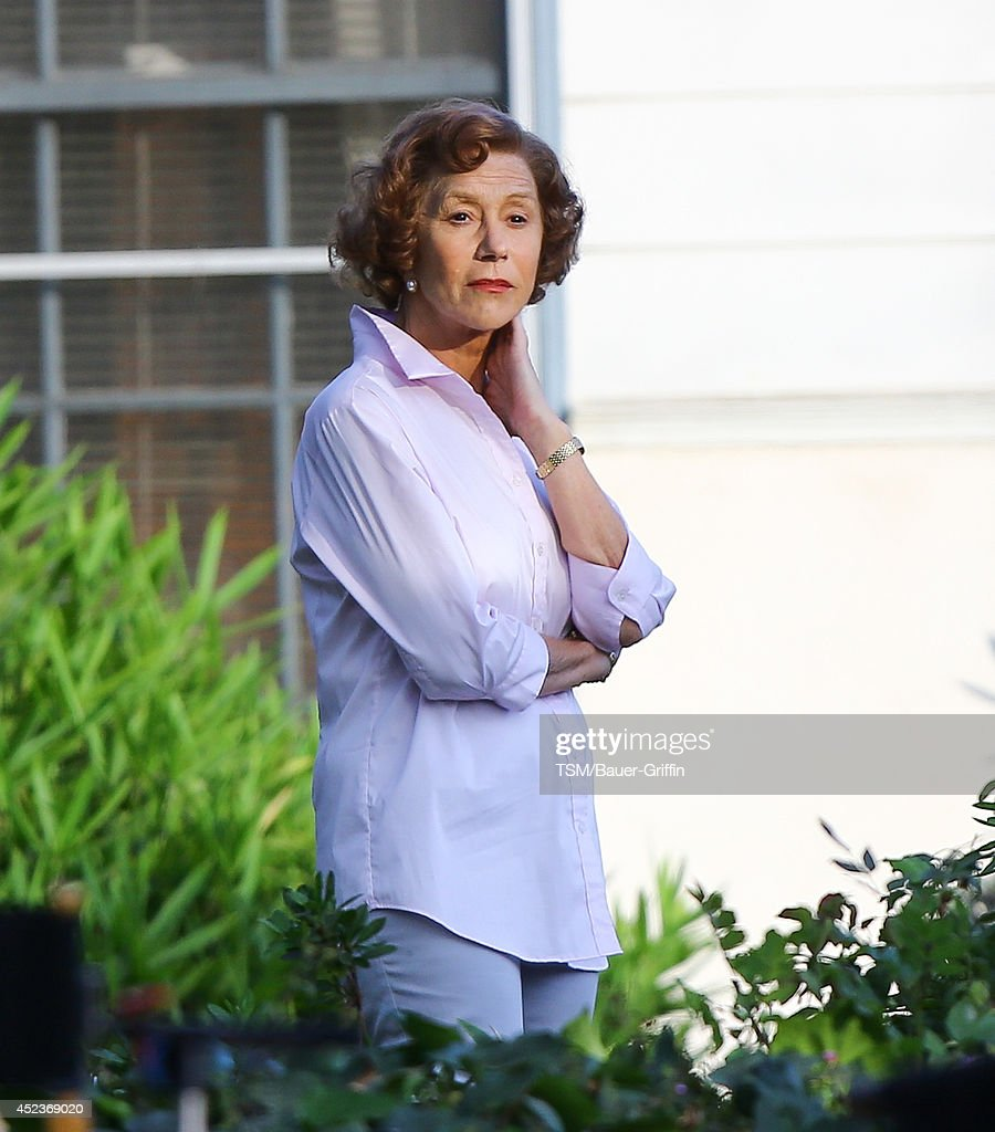 <a gi-track='captionPersonalityLinkClicked' href=/galleries/search?phrase=Helen+Mirren&family=editorial&specificpeople=201576 ng-click='$event.stopPropagation()'>Helen Mirren</a> is seen filming 'The Woman in Gold' on July 18, 2014 in Los Angeles, California.
