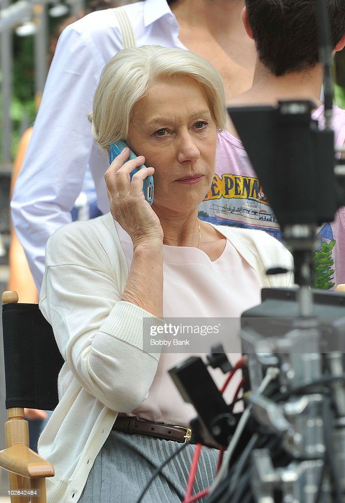 <a gi-track='captionPersonalityLinkClicked' href=/galleries/search?phrase=Helen+Mirren&family=editorial&specificpeople=201576 ng-click='$event.stopPropagation()'>Helen Mirren</a> on location for 'Arthur' on the streets of Manhattan on July 12, 2010 in New York City.