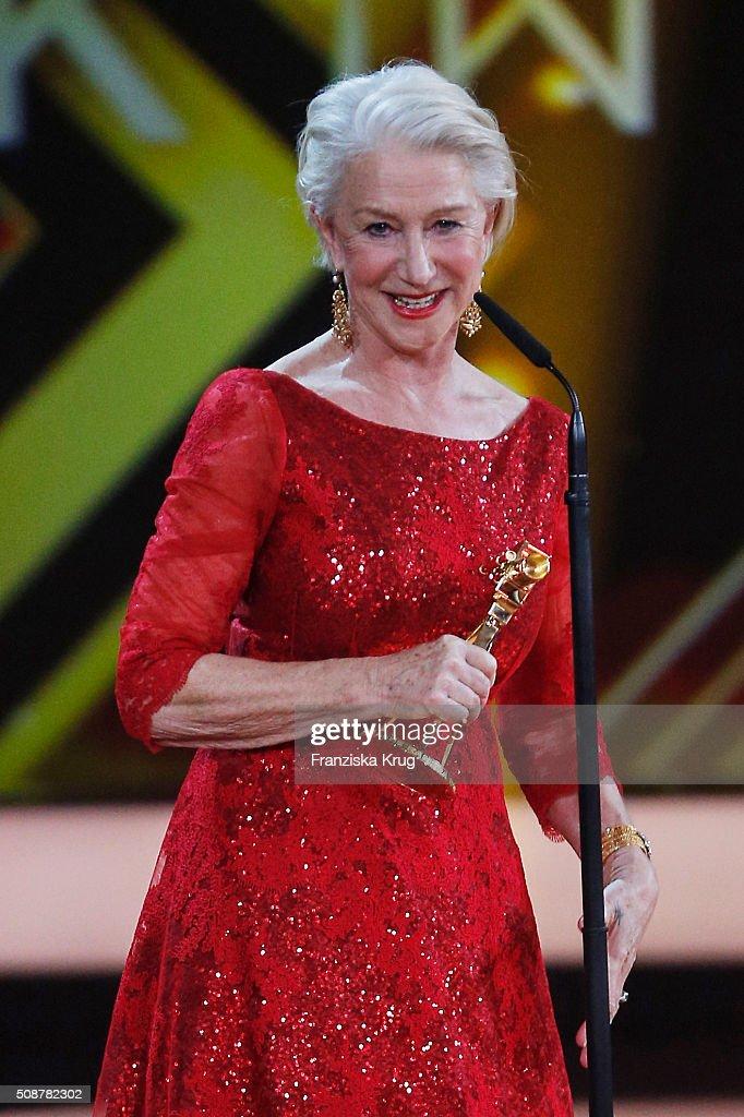 Helen Mirren receives the International Lifetime Achievement award during the Goldene Kamera 2016 show on February 6, 2016 in Hamburg, Germany.