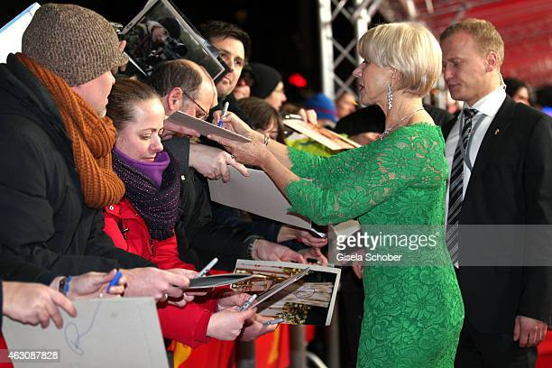 Helen Mirren signs autographs at the 'Woman in Gold' premiere during the 65th Berlinale International Film Festival at Friedrichstadtpalast on...