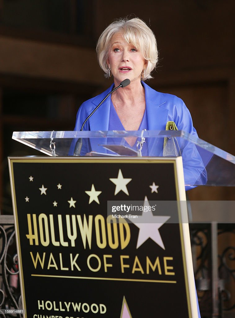 <a gi-track='captionPersonalityLinkClicked' href=/galleries/search?phrase=Helen+Mirren&family=editorial&specificpeople=201576 ng-click='$event.stopPropagation()'>Helen Mirren</a> speaks at the ceremony honoring her with a Star on The Hollywood Walk of Fame held on January 3, 2013 in Hollywood, California.