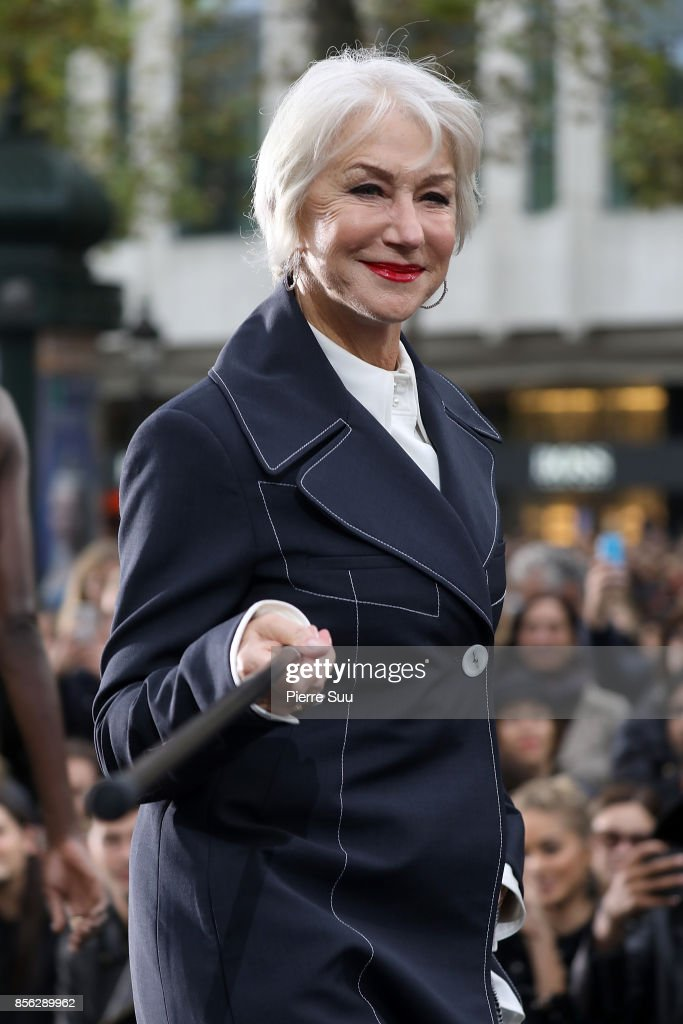 Helen Mirren walks the runway during the Le Defile L'Oreal Paris show as part of the Paris Fashion Week Womenswear Spring/Summer 2018 on October 1, 2017 in Paris, France.