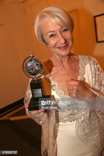 Helen Mirren winner of the award for Best Lead Actress in a Play for 'The Audience' poses in the press room during the American Theatre Wing's 69th...