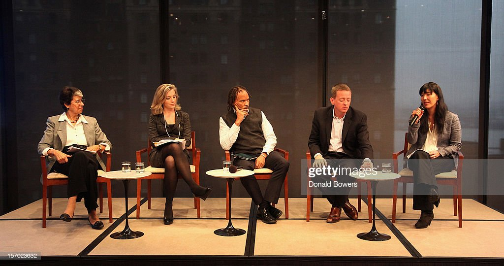 Helen Neuborne, Kristen Rowe-Finkbeiner, Orlando Bagwell, David Rolf and Ai-jen Poo speak during a panel at The Ford Foundation Hosts Day Of Discussion On The Hidden World Of Domestic Work In The US at Ford Foundation on November 27, 2012 in New York City.