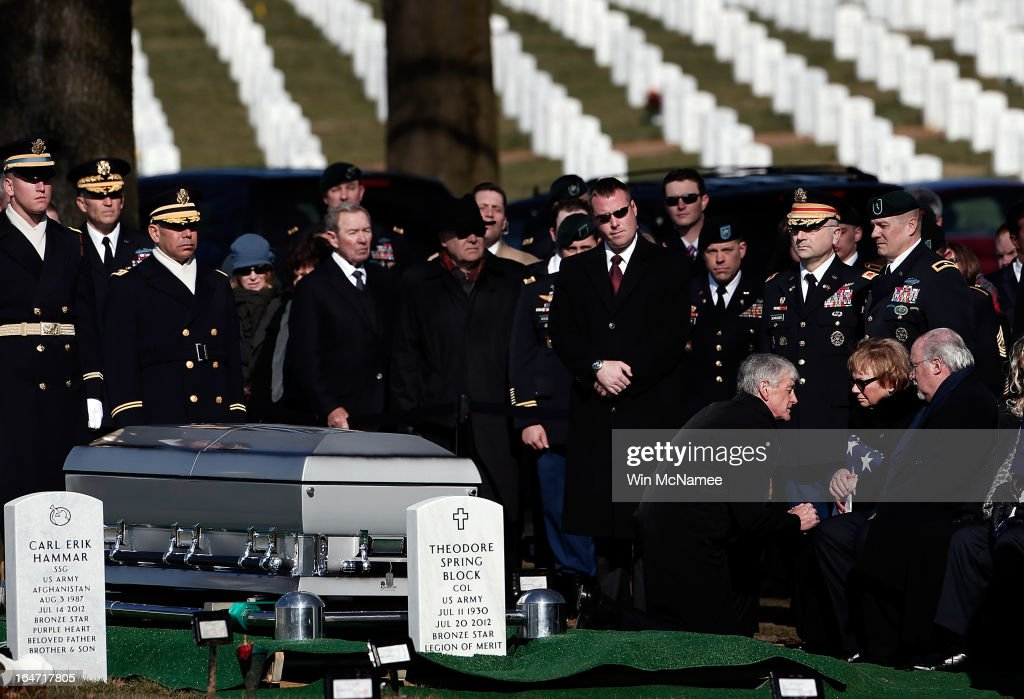 Helen Pedersen-Keiser is comforted by Secretary of the Army John McHugh during a burial service for her son, U.S. Army Capt. Andrew Pedersen-Keel at Arlington National Cemetery March 27, 2013 in Arlington, Virginia. Capt. Pedersen-Keel was killed on March 11, 2013 while serving in Wardak Province, Afghanistan from injuries sustained when attacked by small arms fire from a man in an Afghan police uniform, according to reports.