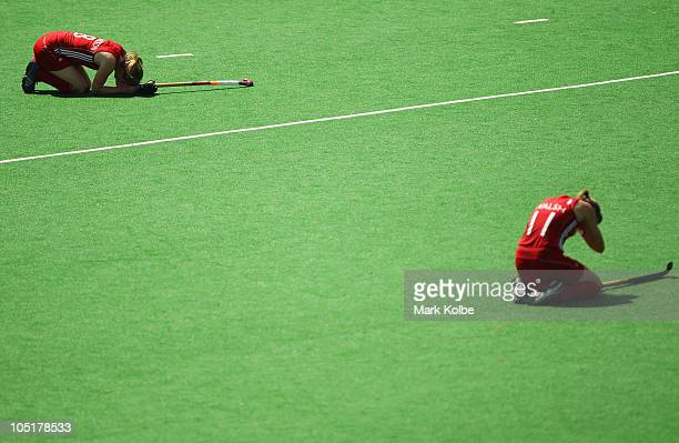 Helen Richardson and Kate Walsh of India show their frustration after losing the Women's Semifinal match between Australia and England at Major Dhyan...