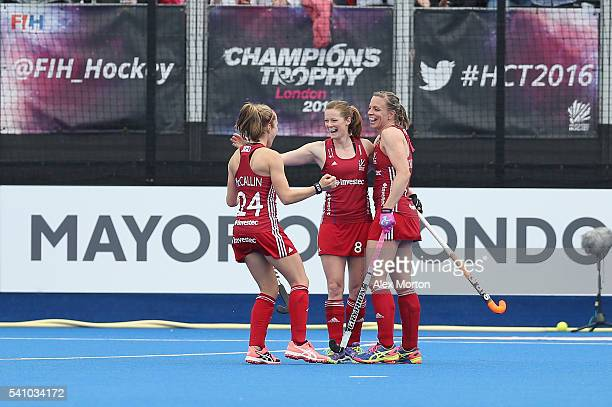 Helen RichardsonWalsh of Great Britain and Kate RichardsonWalsh celebrates after scoring their second goal during the FIH Women's Hockey Champions...
