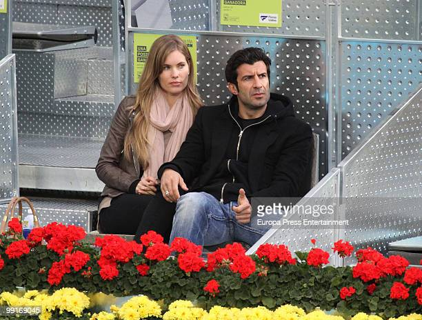 Helen Swedin and Luis Figo attend the Mutua Madrilena Madrid Open on May 12 2010 in Madrid Spain