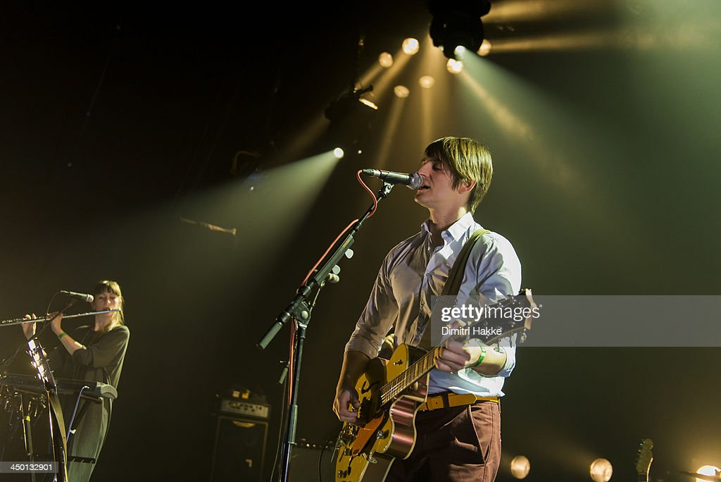 Helen Whitaker and Nick Hemming of The Leisure Society perform on stage at Crossing Border Festival on November 16, 2013 in The Hague, Netherlands.