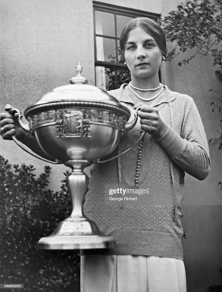 Helen Wills Holding Loving Cup