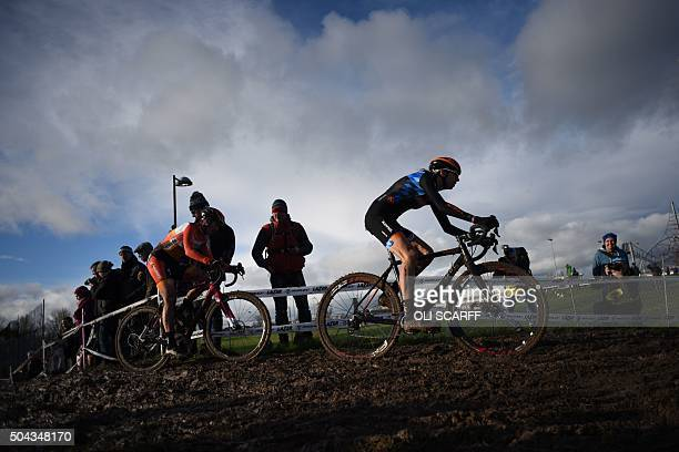 Helen Wyman lead Nikki Harris in the Elite Women's Championship of the 2016 British Cycling National CycloCross Championships at Shrewsbury Sports...