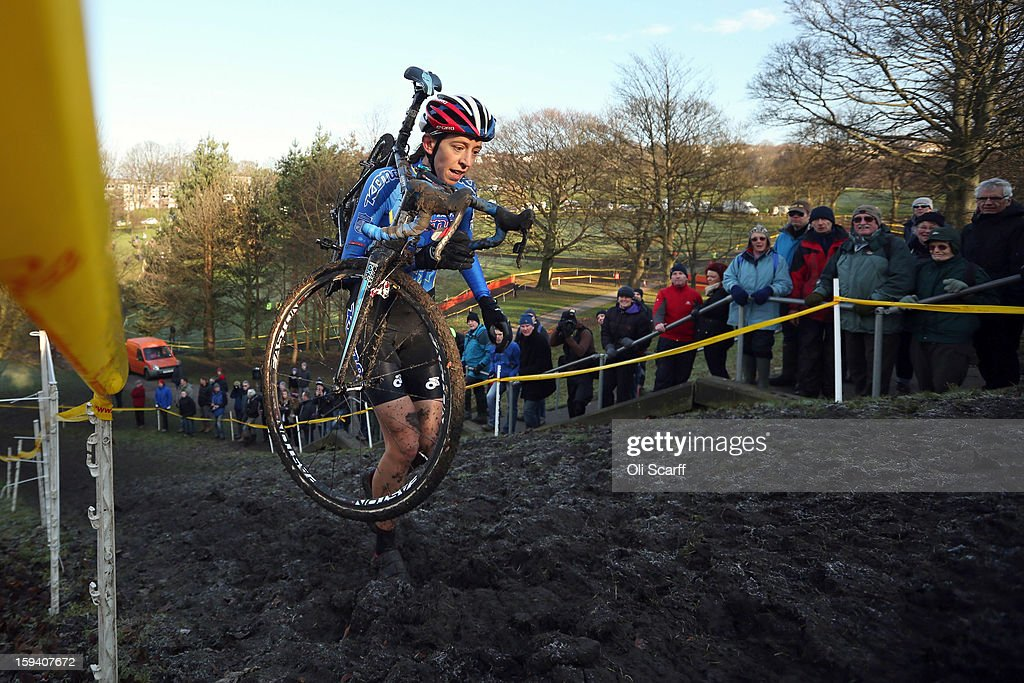 Helen Wyman on her way to second place the Women's race at the 2013 National Cyclo-Cross Championships in Peel Park on January 13, 2013 in Bradford, England. The sport of cyclo-cross, featuring ,lightweight bikes with off-road tyres, has dramatically increased in popularity over the past few years. Cyclo-cross courses are often run over a mixture of terrains from tarmac to mud and frequently include obstacles or steep inclines where riders have to carry their bike.