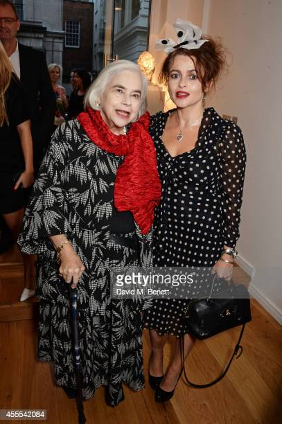 Helena Bonham Carter and mother Elena Bonham Carter attend a private view for Nicole Farhi's debut exhibition of sculptures 'From The Neck Up' at...
