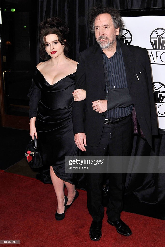 Helena Bonham Carter and Tim Burton arrive at the 38th Annual Los Angeles Film Critics Association Awards at InterContinental Hotel on January 12, 2013 in Century City, California.