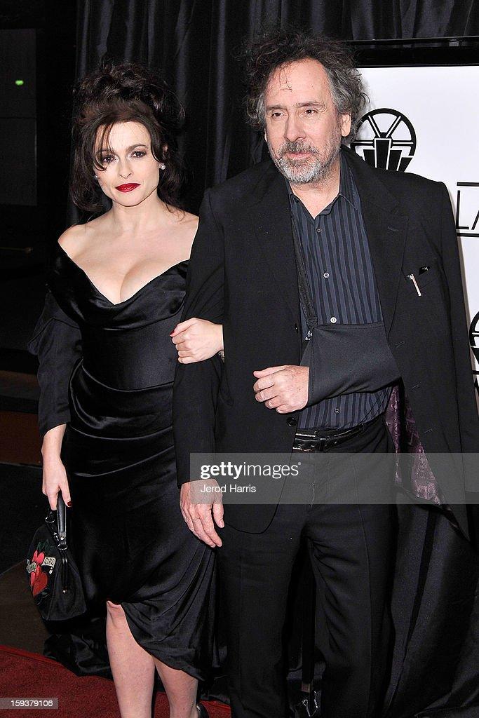 Helena Bonham Carter and Tim Burton arrive at the 38th Annual Los Angeles Film Critics Association Awards at InterContinental Hotel on January 12, 2013 in Century City, California.