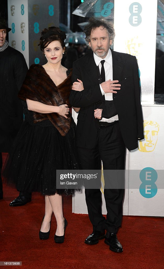 Helena Bonham Carter and Tim Burton attend the EE British Academy Film Awards at The Royal Opera House on February 10 2013 in London England