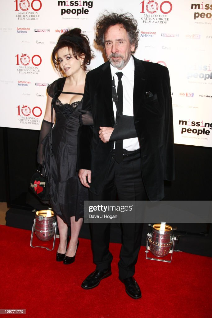Helena Bonham Carter and Tim Burton attend The London Film Critics Circle Film Awards 2013 at The Mayfair Hotel on January 20, 2013 in London, England.