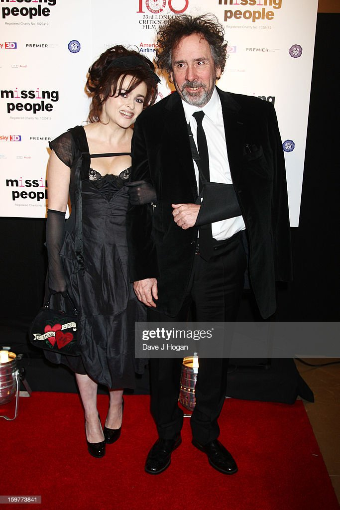 <a gi-track='captionPersonalityLinkClicked' href=/galleries/search?phrase=Helena+Bonham+Carter&family=editorial&specificpeople=210567 ng-click='$event.stopPropagation()'>Helena Bonham Carter</a> and <a gi-track='captionPersonalityLinkClicked' href=/galleries/search?phrase=Tim+Burton&family=editorial&specificpeople=206342 ng-click='$event.stopPropagation()'>Tim Burton</a> attend The London Film Critics Circle Film Awards 2013 at The Mayfair Hotel on January 20, 2013 in London, England.