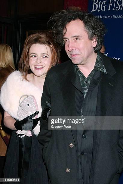 Helena Bonham Carter and Tim Burton during 'Big Fish' New York Premiere at Ziegfeld Theatre in New York City New York United States