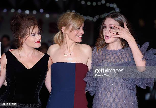 Helena Bonham Carter AnneMarie Duff and Carey Mulligan attend a screening of 'Suffragette' on the opening night of the BFI London Film Festival at...