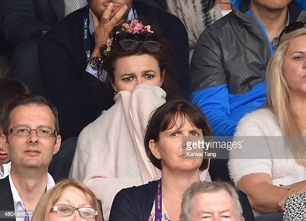 Helena Bonham Carter attends day 13 of the Wimbledon Tennis Championships at Wimbledon on July 12 2015 in London England