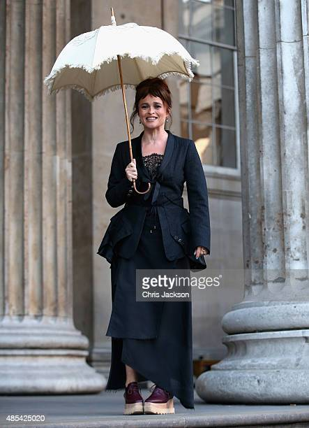 Helena Bonham Carter holds her original Prasol from 'A Room With a View' as she attends a photocall to launch BFI Love at The British Museum on...