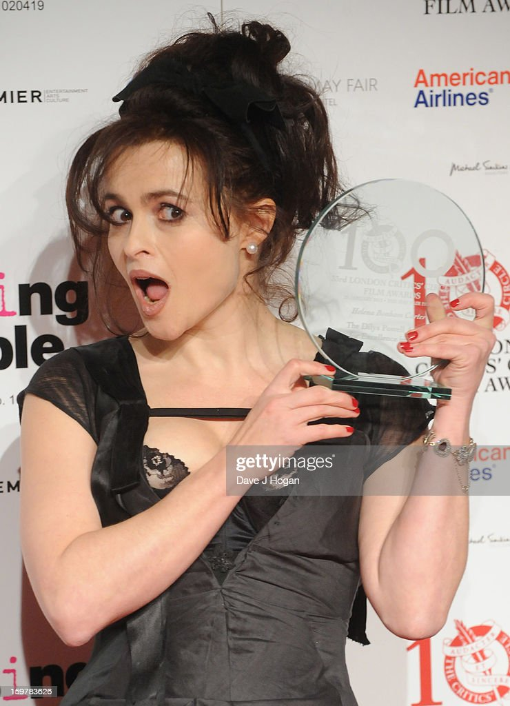 <a gi-track='captionPersonalityLinkClicked' href=/galleries/search?phrase=Helena+Bonham+Carter&family=editorial&specificpeople=210567 ng-click='$event.stopPropagation()'>Helena Bonham Carter</a> poses in The London Film Critics Film Awards press room on January 20, 2013 in London, England.