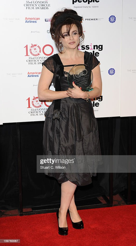 <a gi-track='captionPersonalityLinkClicked' href=/galleries/search?phrase=Helena+Bonham+Carter&family=editorial&specificpeople=210567 ng-click='$event.stopPropagation()'>Helena Bonham Carter</a> poses in the press room at the London Critics' Circle Film Awards at The Mayfair Hotel on January 20, 2013 in London, England.