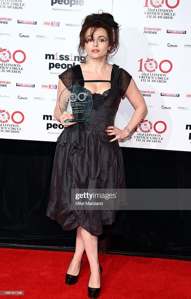 <a gi-track='captionPersonalityLinkClicked' href=/galleries/search?phrase=Helena+Bonham+Carter&family=editorial&specificpeople=210567 ng-click='$event.stopPropagation()'>Helena Bonham Carter</a> poses in the press room at the London Film Critics Circle Film Awards at The Mayfair Hotel on January 20, 2013 in London, England.