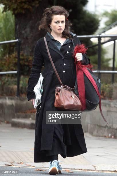 Helena Bonham Carter seen picking up a newspaper on her walk through Belsize Park on September 7 2017 in London England