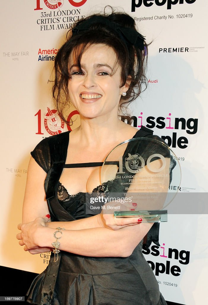 <a gi-track='captionPersonalityLinkClicked' href=/galleries/search?phrase=Helena+Bonham+Carter&family=editorial&specificpeople=210567 ng-click='$event.stopPropagation()'>Helena Bonham Carter</a>, winner of the Dilys Powell Award For Excellence in Film, poses in the press room at The London Critics Circle Film Awards at the May Fair Hotel on January 20, 2013 in London, England.