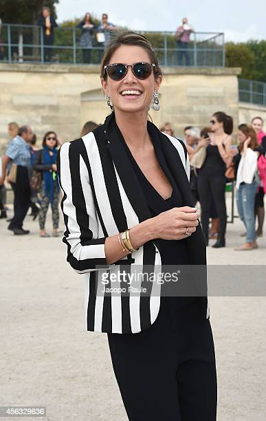 Helena Bordon arrives at the Elie Saab show during Paris Fashion Week Womenswear SS 2015 on September 29 2014 in Paris France