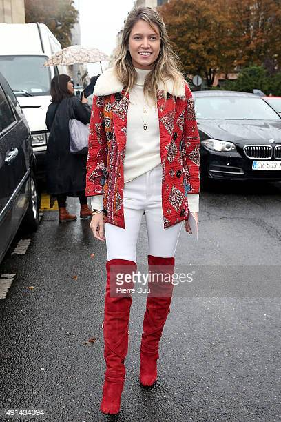 Helena Bordon arrives at the Giambattista Valli show as part of the Paris Fashion Week Womenswear Spring/Summer 2016 on October 5 2015 in Paris France