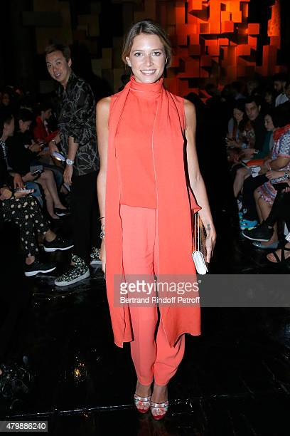 Helena Bordon attends the Elie Saab show as part of Paris Fashion Week Haute Couture Fall/Winter 2015/2016 Held at Pavillon Cambon Capucines on July...