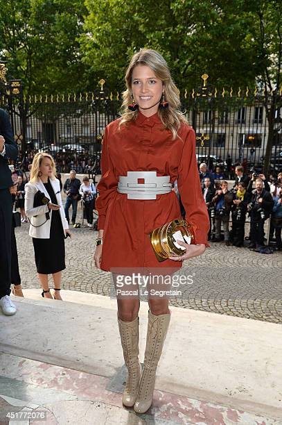 Helena Bordon attends the Versace show as part of Paris Fashion Week Haute Couture Fall/Winter 20142015 on July 6 2014 in Paris France