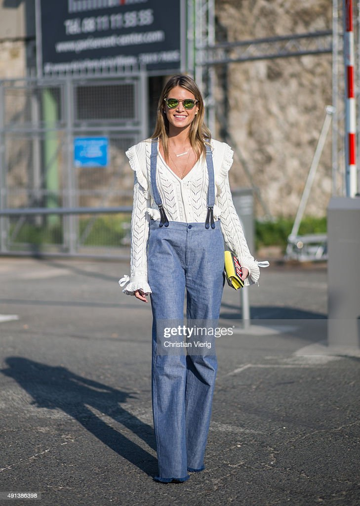 Helena Bordon before Kenzo during the Paris Fashion Week Womenswear Spring/Summer 2016 on October 4 2015 in Paris France
