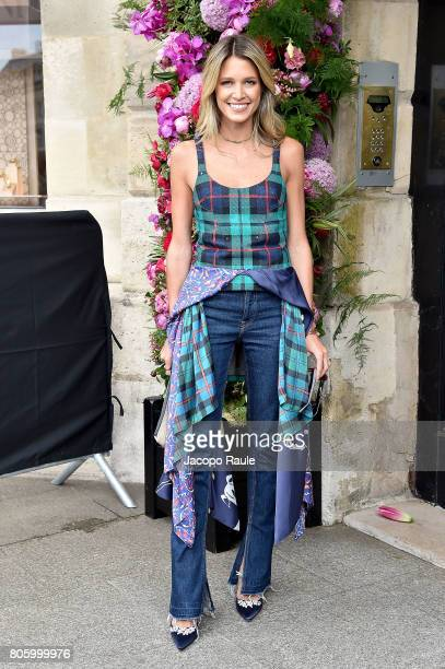 Helena Bordon is seen arriving at the 'Schiaparelli' show during Paris Fashion Week Haute Couture Fall/Winter 20172018 on July 3 2017 in Paris France
