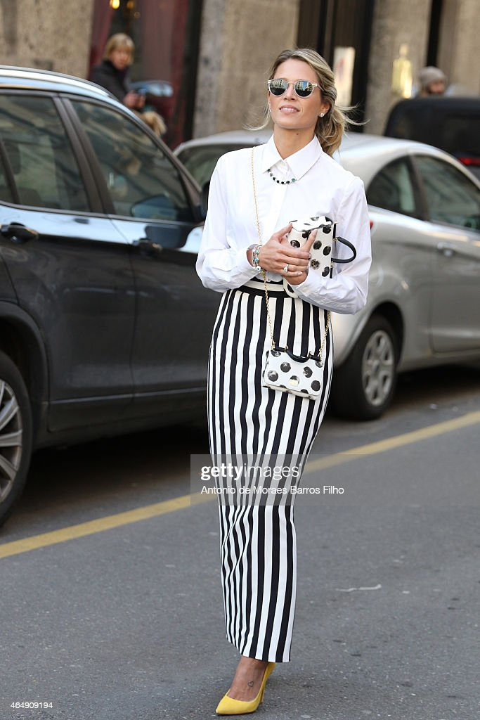 Helena Bordon is seen in the streets of Milan arriving at the Dolce Gabbana show during Milan Fashion Week 2015 on Mars 01 2015 in Milan Italy