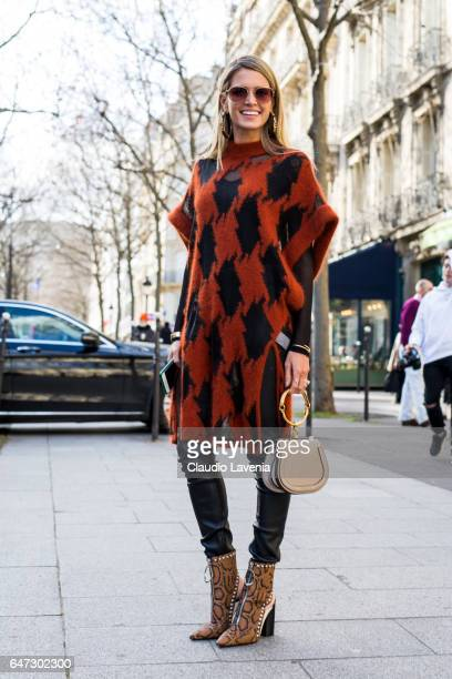 Helena Bordon is seen in the streets of Paris after the Balmain show during Paris Fashion Week Womenswear Fall/Winter 2017/2018 on March 2 2017 in...