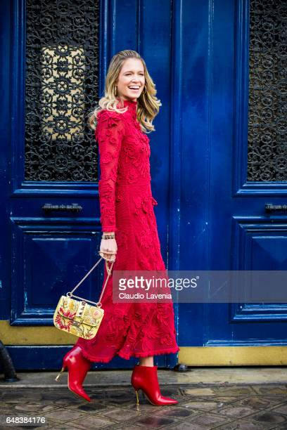 Helena Bordon is seen in the streets of Paris before the Valentino show during Paris Fashion Week Womenswear Fall/Winter 2017/2018 on March 5 2017 in...