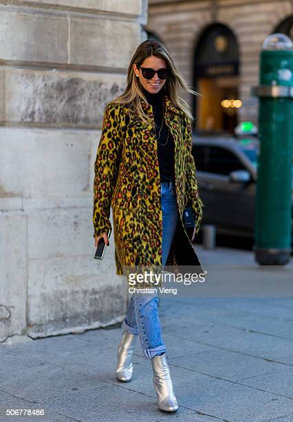 Helena Bordon outside Schiaparelli during the Paris Fashion Week Haute Couture Spring/Summer 2016 on January 25 2016 in Paris France