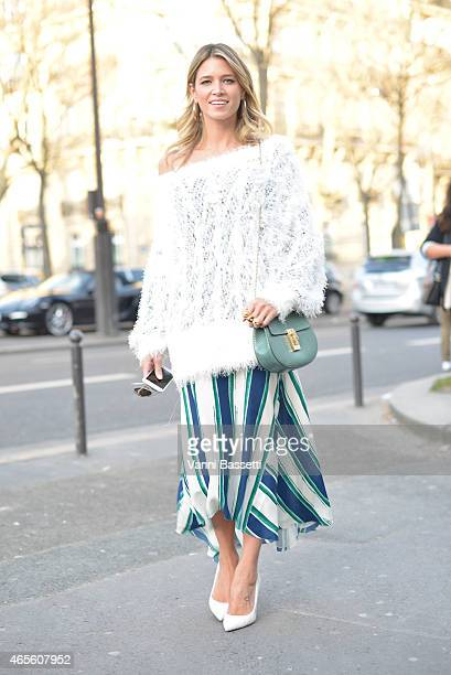 Helena Bordon poses wearing a Chloe total look on Day 6 of Paris Fashion Week Womenswear FW15 on March 8 2015 in Paris France