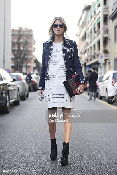 Helena Bordon poses wearing a Moschino dress and Prada jacket on February 26 2015 in Milan Italy