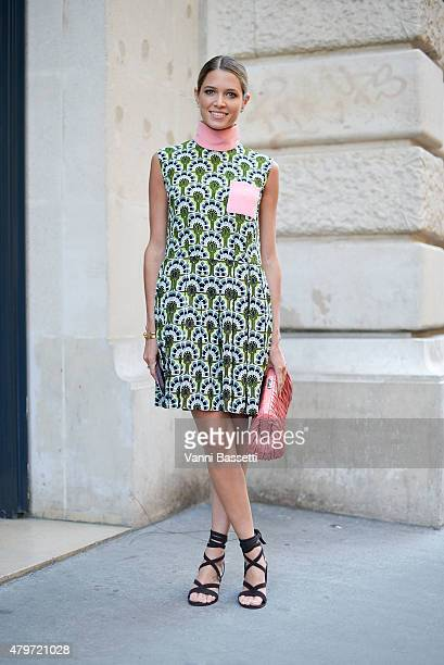 Helena Bordon poses wearing Miu miu dress and bag before the Ralph and Russo show at Rue Cambon on July 6 2015 in Paris France