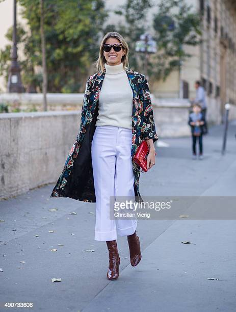 Helena Bordon wearing a Topshop jacket during Paris Fashion Week Womenswear Spring/Summer 2016 on September 30 2015 in Paris France