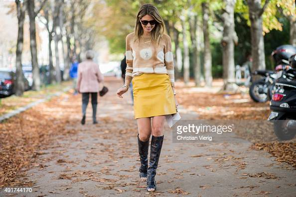 Helena Bordon wearing Agnona sweater and Zara skirt at Moncler Gamme Rouge during the Paris Fashion Week Womenswear Spring/Summer 2016 on Oktober 7...