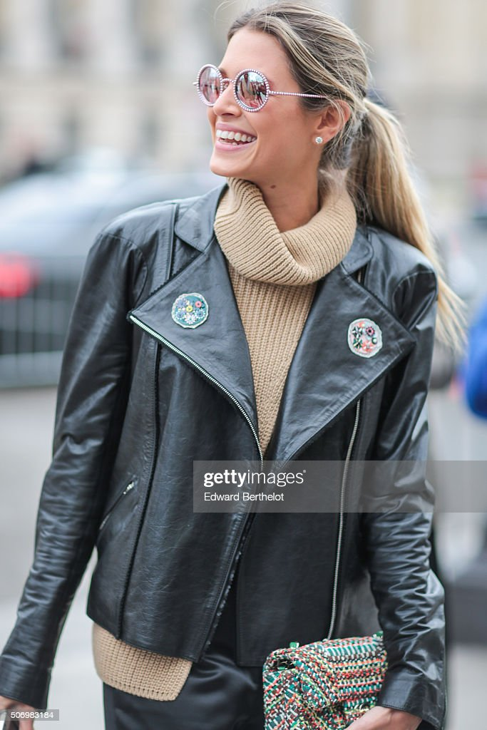 Helena Bordon wearing Chanel before the Chanel show during Paris Fashion Week Haute Couture Spring Summer 2016 on January 26 2016 in Paris France