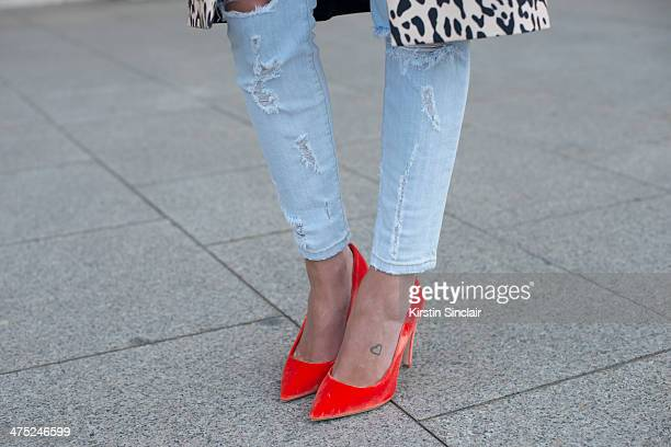 Helena Bordon wears Current Elliott jeans on day 2 of Paris Collections Women on February 26 2014 in Paris France